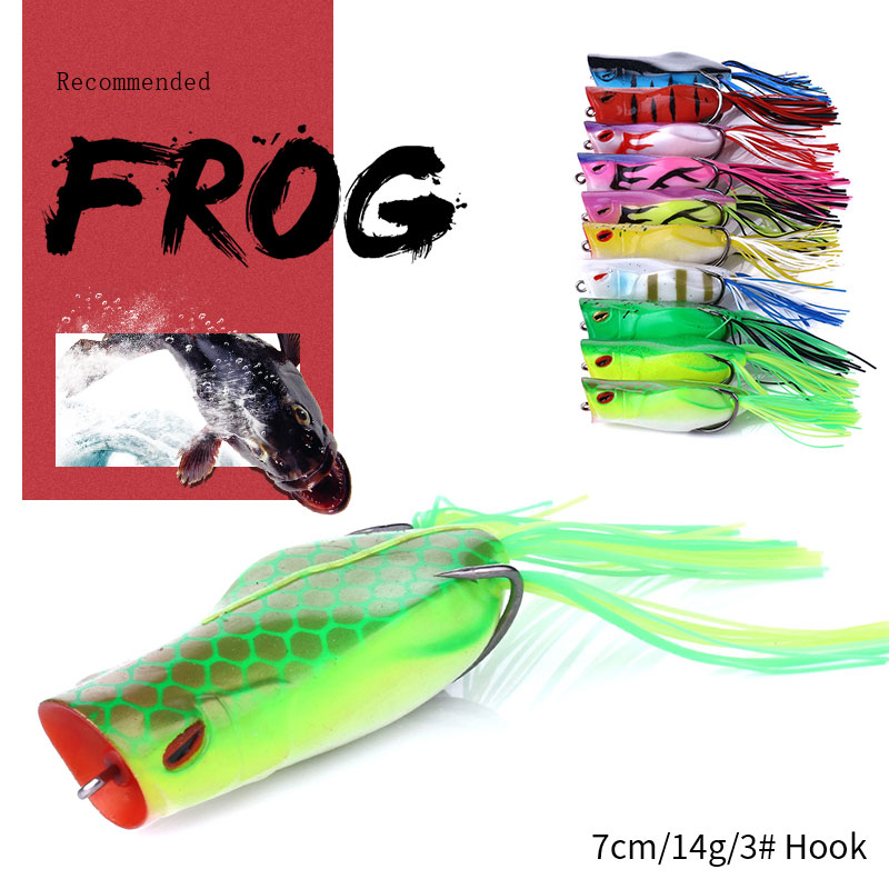 2019 HENGJIA 1PCS Frog Lure  Hard Bass Bait Snake head Lure 70mm/14g Topwater Sillicon Popper Frog Fishing Lures Fishing Tackle