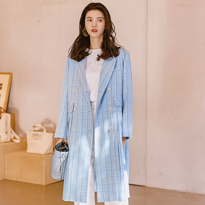 Fashion Fresh Blue Plaid   Trench   Coat For Women 2019 New Arrival Pleated Hem Design Spring Elegant Long Coat Womens Overcoat