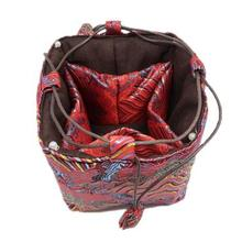 Roll Up Jewelry Organizer 30pcs/lot Mix Color 11* 8 inch Silk Printed Zipper Drawstring Pouches