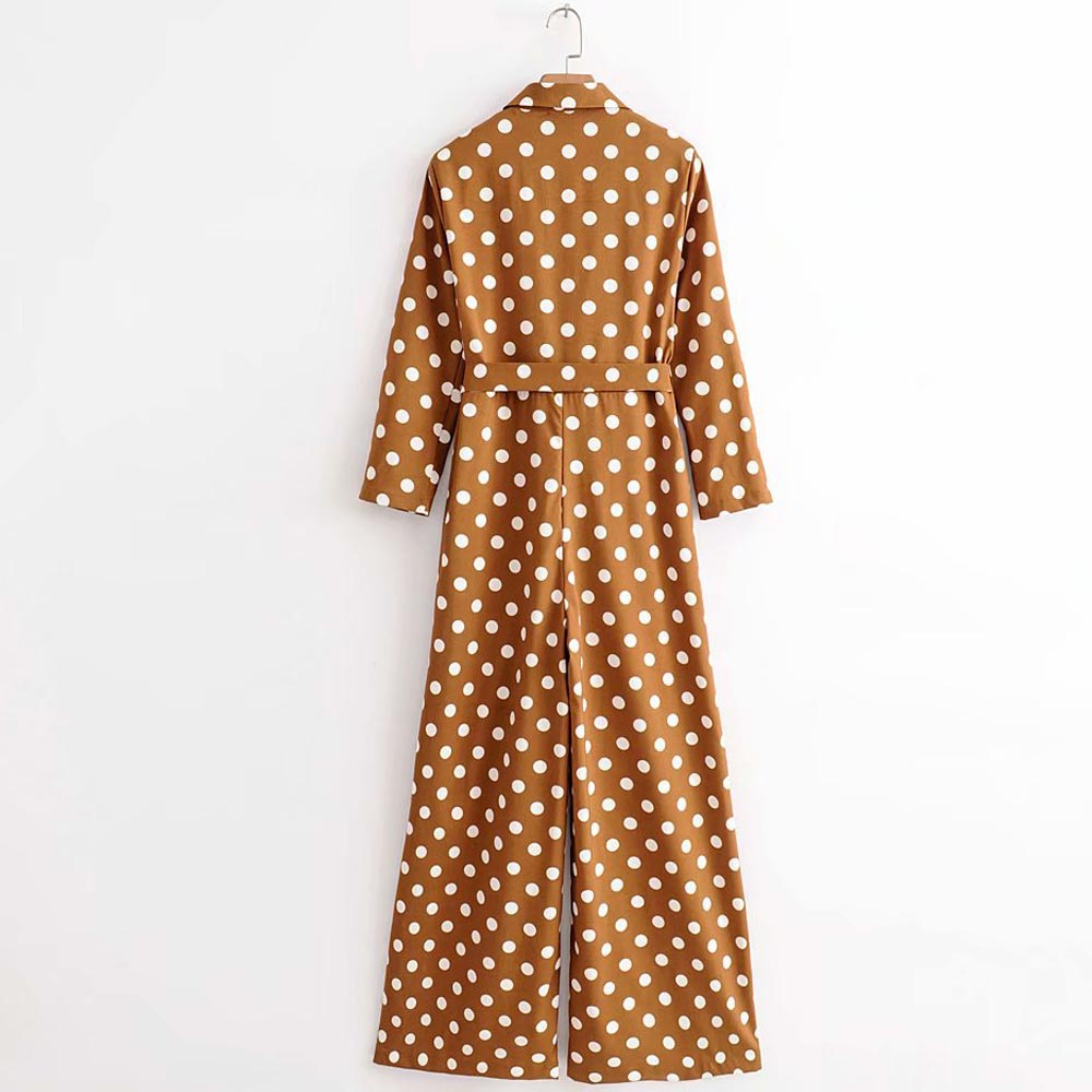 FIRSTTO Fashion Polka Dot Print Notched Collar Long Sleeve Trendy Women Overalls Waist Sashes Tied Bow Rompers Jumpsuit Bodysuit