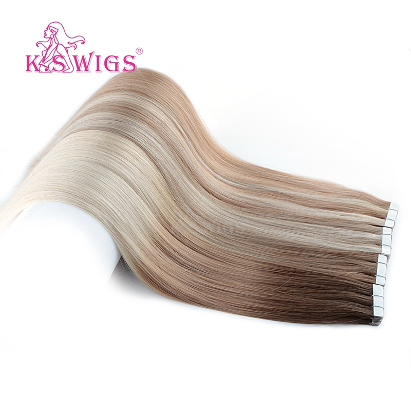 K.S WIGS Remy Tape In Human Hair Double Drawn Straight Seamless Skin Weft Hair Extensions  16'' 20'' 24'' 10pcs/pack
