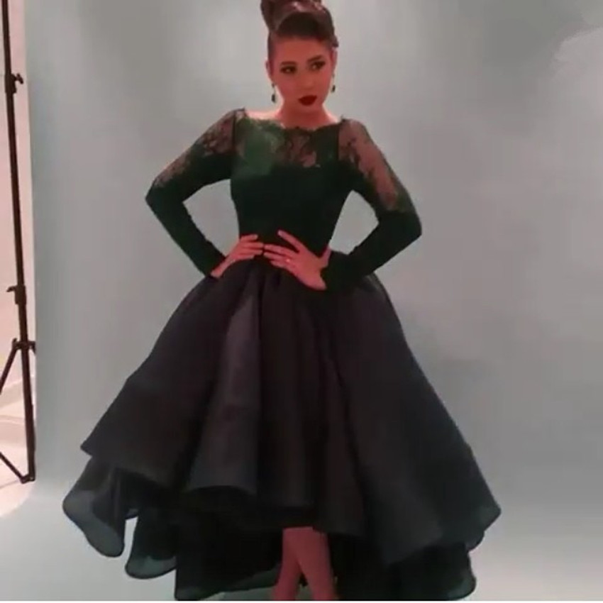 Myriam Fares 2015 High Low Long Sleeves Organza Ball Gown Evening