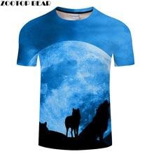 Lobo y Luna 3D imprimir camiseta hombres mujeres camiseta verano Casual manga  corta o-cuello camisetas y Tops 2018 nave de la Go. 34766292f6091