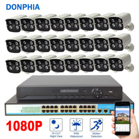 1080 P 24 шт. Камера наблюдения Системы POE 24ch NVR комплект + коммутатор PoE + 2MP IP Камера POE Водонепроницаемый безопасности Системы CCTV Системы