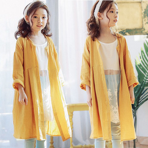 2017 autumn kids girls long cardigans sunscreen coat fall maxi ...