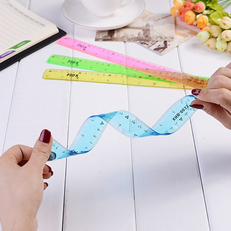 30cm Soft Colorful Ruler Multicolour Flexible Creative Stationery Rule School Study Work Children Supply Sent At Random