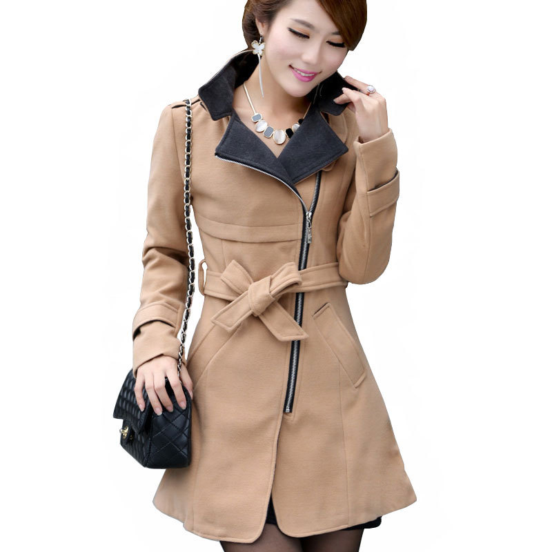 Womens Wool Winter Coat With Hood - Tradingbasis