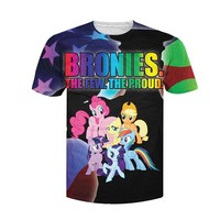 Women Men Bronies T Shirt The My Little Pony Cartoon Pinky Pie Rainbow Dash Applejack Fluttershy