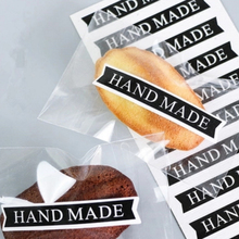 160pcs/lot Black HANDMADE Strip Seal Sticker For DIY Gifts Cake Cookie Baking Package Decoration Handmade With Love Label