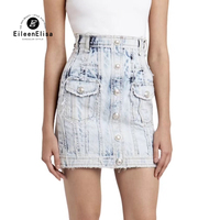Летняя женская джинсовая юбка высокая посадка на пуговице джинсовые юбки женские Мини Повседневная юбка карандаш