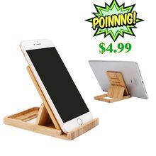iCozzier Bamboo Adjustable Tablet Phone Stand Multi-angle Foldable Holder for iPad/iPhone X 8 7 Plus/Sony/HTC,etc