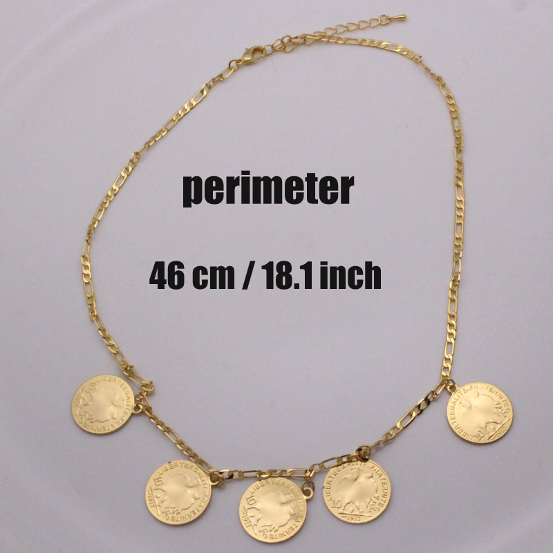 zkd Arab Coin islam muslim 46 cm necklace   Middle East Metal liberteegalite fraternite Coins jewerly