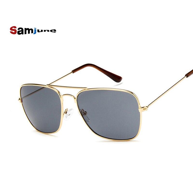 ef77ad457e Samjunio hombres cuadrados lentes planos gafas de sol aviación marca  diseñador nuevo Vintage mujeres Rosa espejo conducción gafas de sol
