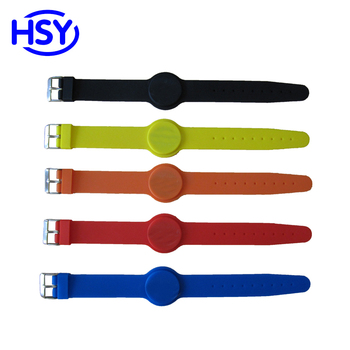 Adjustable Size 125Khz and 13.56Mhz RFID Silicone Wristband Proximity TK4100 EM ID access controller HF IC MF 1K Watch Type Card image
