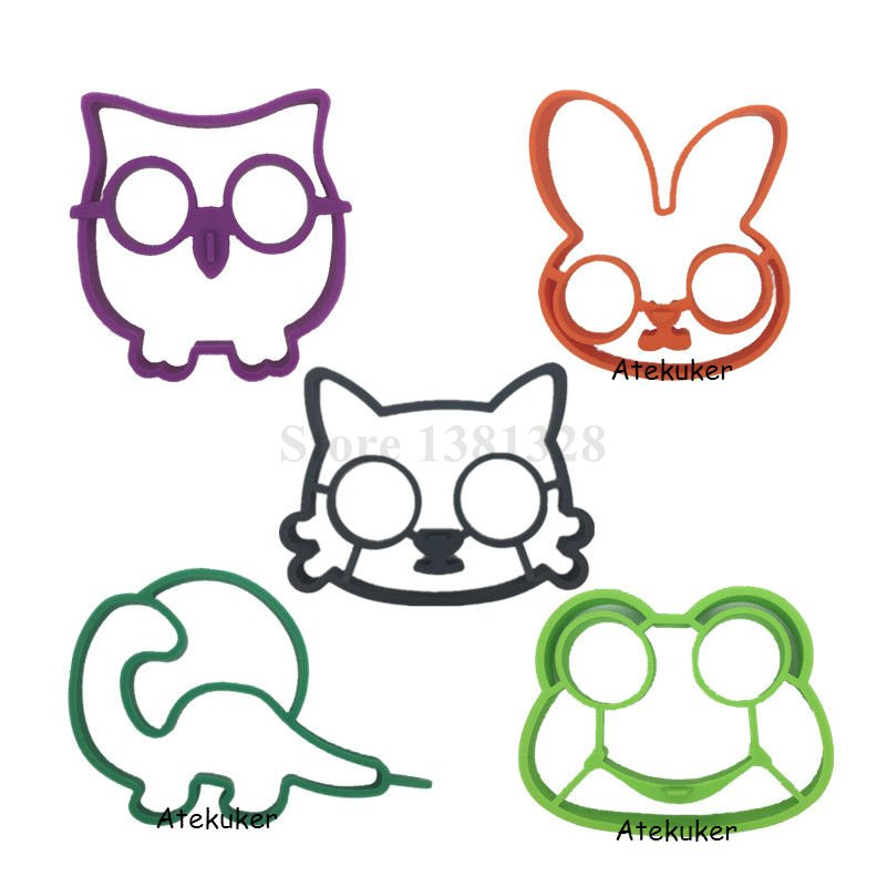 5pcs/set Owl Rabbit Cat Dinosaur Frog Shaped Silicone Fried Egg Mold Pancake Rings Cooking Tools Egg Omelette Mould Kitchen Kits