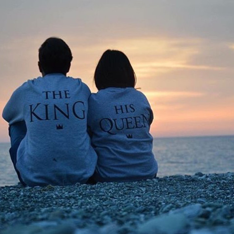 High Quality The King His Queen Print Grey Sweatshirt Harajuku Long-Sleeved Lovers' Clothes Cotton Pullover Brand Hoodies H1070