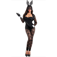 2017 Adult Halloween Sexy Lingerie 4pcs Long Sleeves Lace Patchwork Bunny Costume Cat Cosplay Costume Fantasias