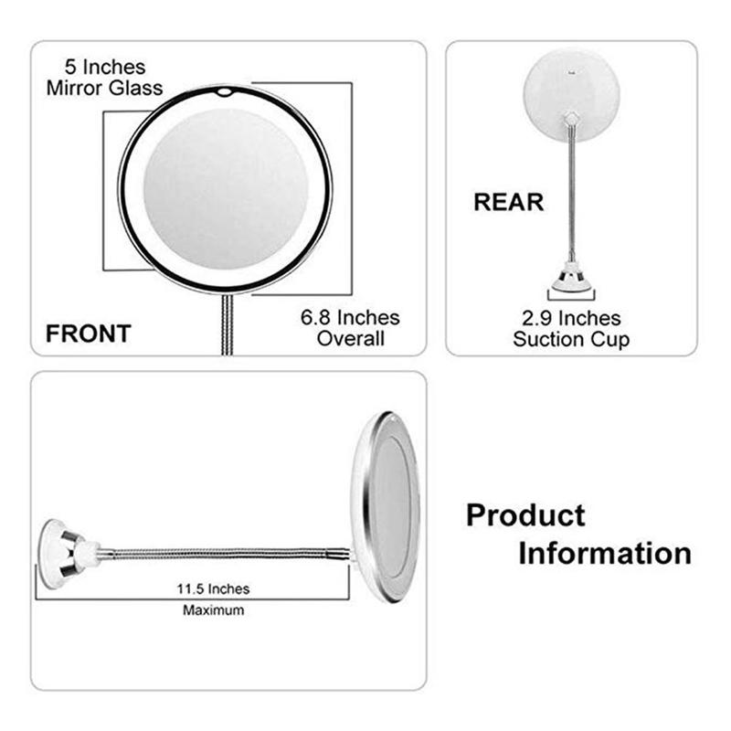 360 Degrees Adjustable Led Lighted Makeup Mirror Make Up Tool Flexible Suction Cup Mirror Cosmetic Magnifying Glasses in Makeup Mirrors from Beauty Health