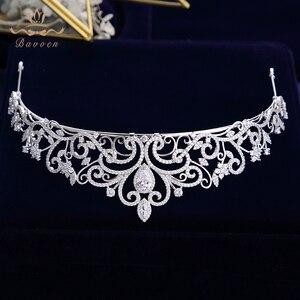 Image 4 - נסיכה high end מלכת מלא זירקון מצנפות כתרים עבור כלות פניני חתונת Hairbands קריסטל חתונה שמלת אביזרי