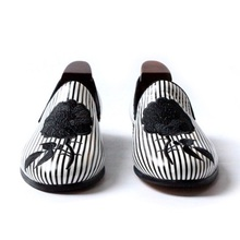Black and white striped embroidery rose party wedding shoes men flats leather handmade size US 5-11