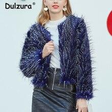 Chic de pavo real abrigo de piel Mujer Otoño Invierno chaquetas cortas, abrigos de piel falsa chaqueta de moda de la calle abrigo Mujer