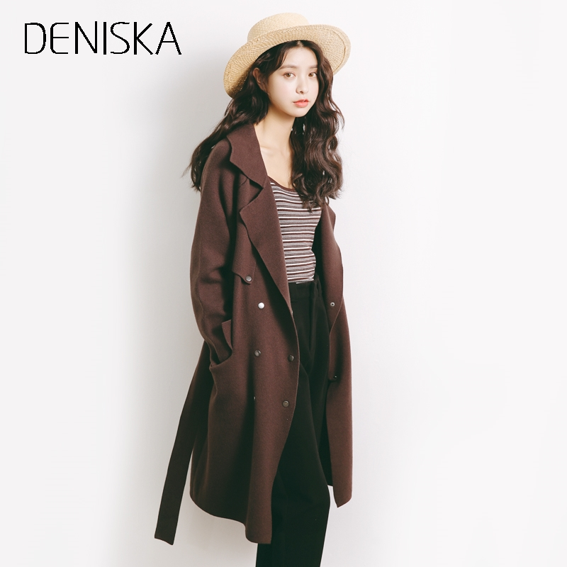 DENISKA Sash elastic cardigan winter sweater women jumper Knitted cardigan female coat Soft casual sweater pull outerwear
