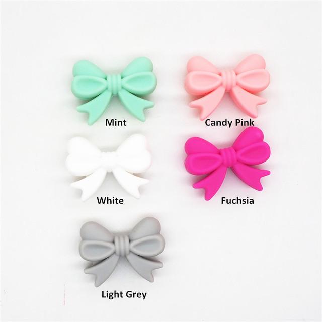 Chenkai 50pcs BPA Free Silicone Bow Tie Teether Beads DIY Baby Shower Teething Montessori Sensory Toy Bow-Knot Accessories