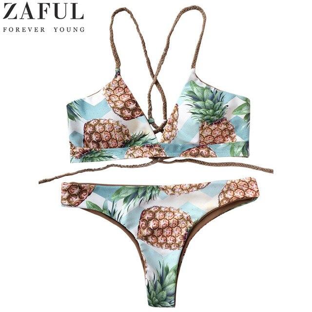 ead3903161 ZAFUL Women Bandage Bikinis Swimwear Female Sexy Push up Swimsuit Back Strappy  Pineapple Print Bikini Set