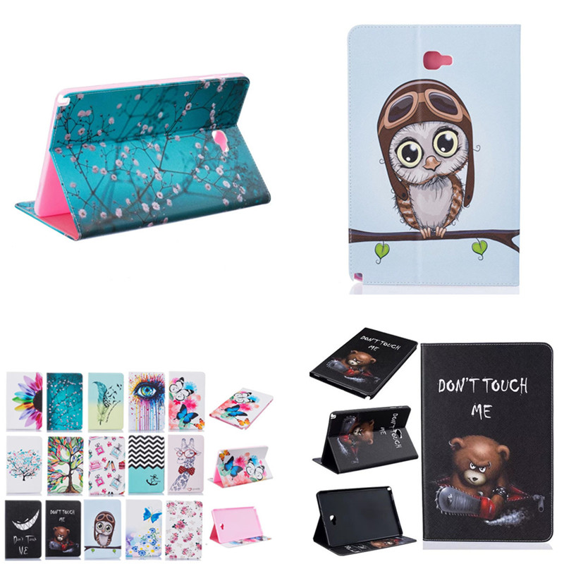 BF Cover for Samsung Tab A 10.1 with S Pen P580 / P585 P580N Cute Patterned Book Stand PU Leather Colored Painting OWI tree