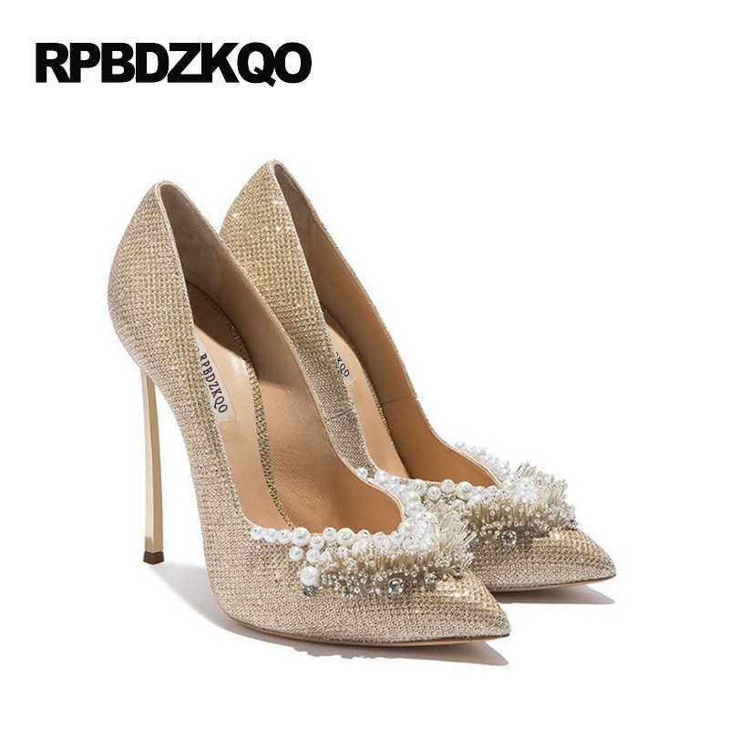 ... Ladies Super Metal Gold High Heels Pointed Toe 12cm 5 Inch 11 43 Pumps  Size 33 ... 893ac4ea796a