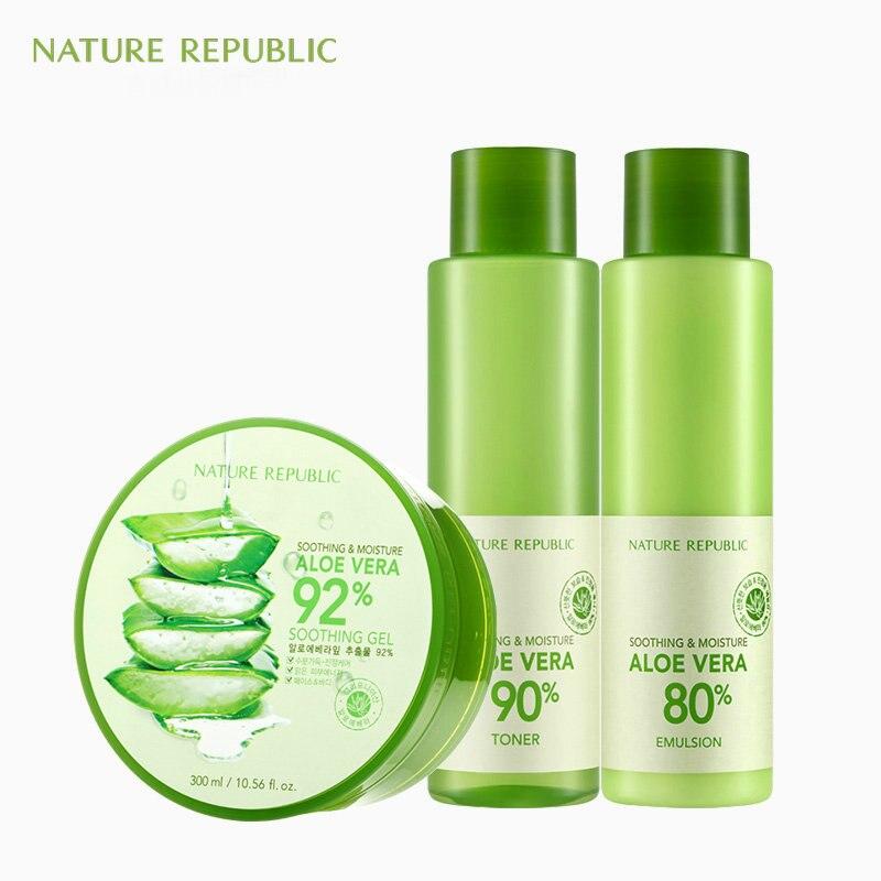 Nature république coréenne soin de la peau hydratant ensemble Gel d'aloe Vera + Toner + émulsion traitement de contrôle de l'huile acné