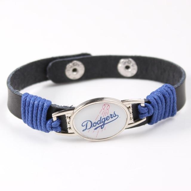Los Angeles Dodgers Sport Team Logo Charms Leather Bracelet Mens Black For Men Drop