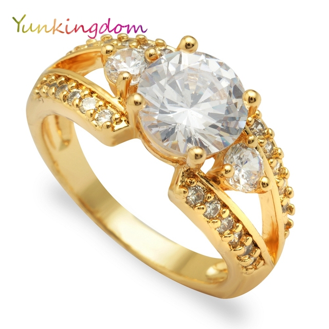 Yunkingdom Engagement crystal rings jewelry female costume accessories zircon ri