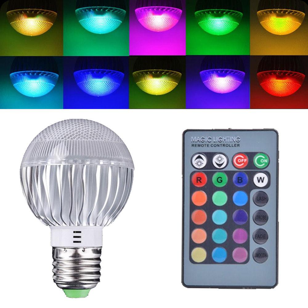 E27 15W RGB LED Lamp Color Changing Light Bulb 85-265V With Remote Control Sales rgb led bulb 9w 15w rgb bulb e27 e26 e14 gu10 b22 ac 85 265v rgb led lamp with remote control multi color lamp