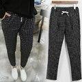 Calças mulheres Primavera Outono moda Preto xadrez elásticas calças de cintura Alta em linha reta calças de Lazer de Grande Porte irmã gordura XL 5XL