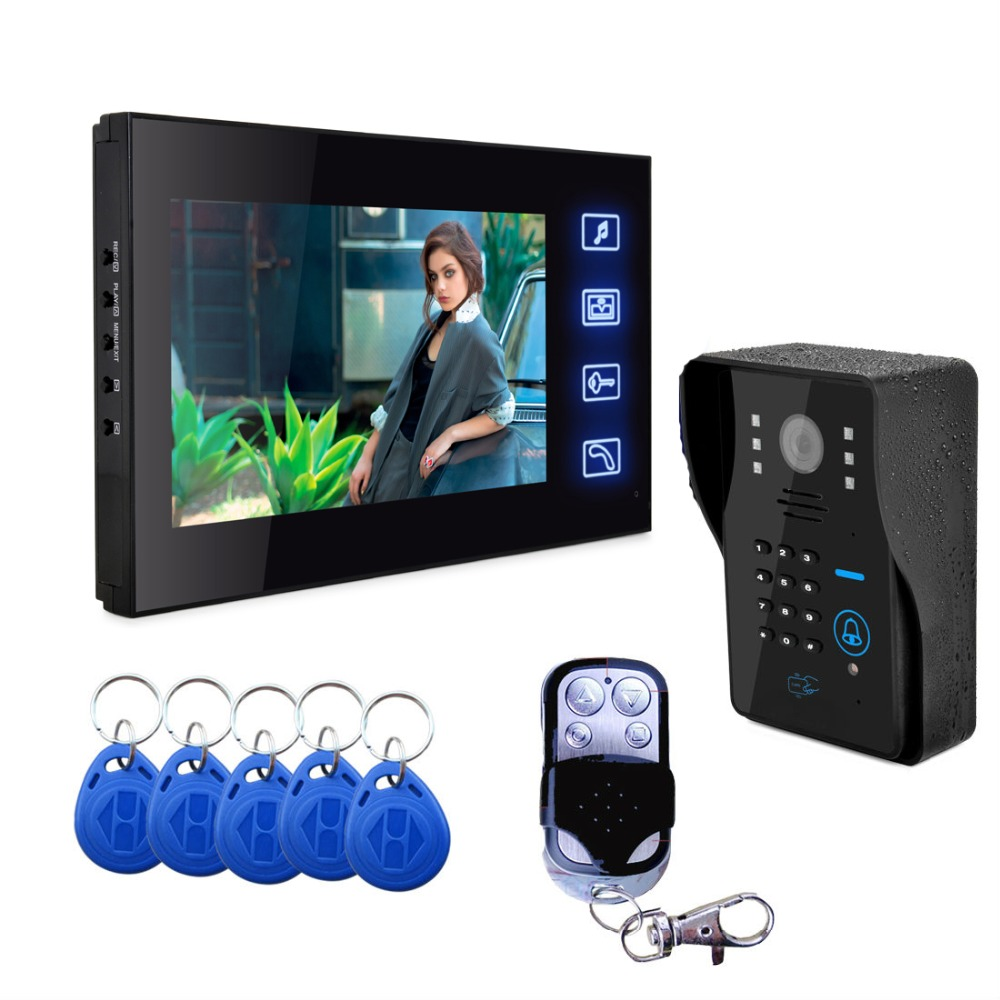 SmartYIBA Video Intercom 7''Inch Touch Monitor Video Door Phone Visual Intercom Doorbell RFID Password Camera Kit SD Recording