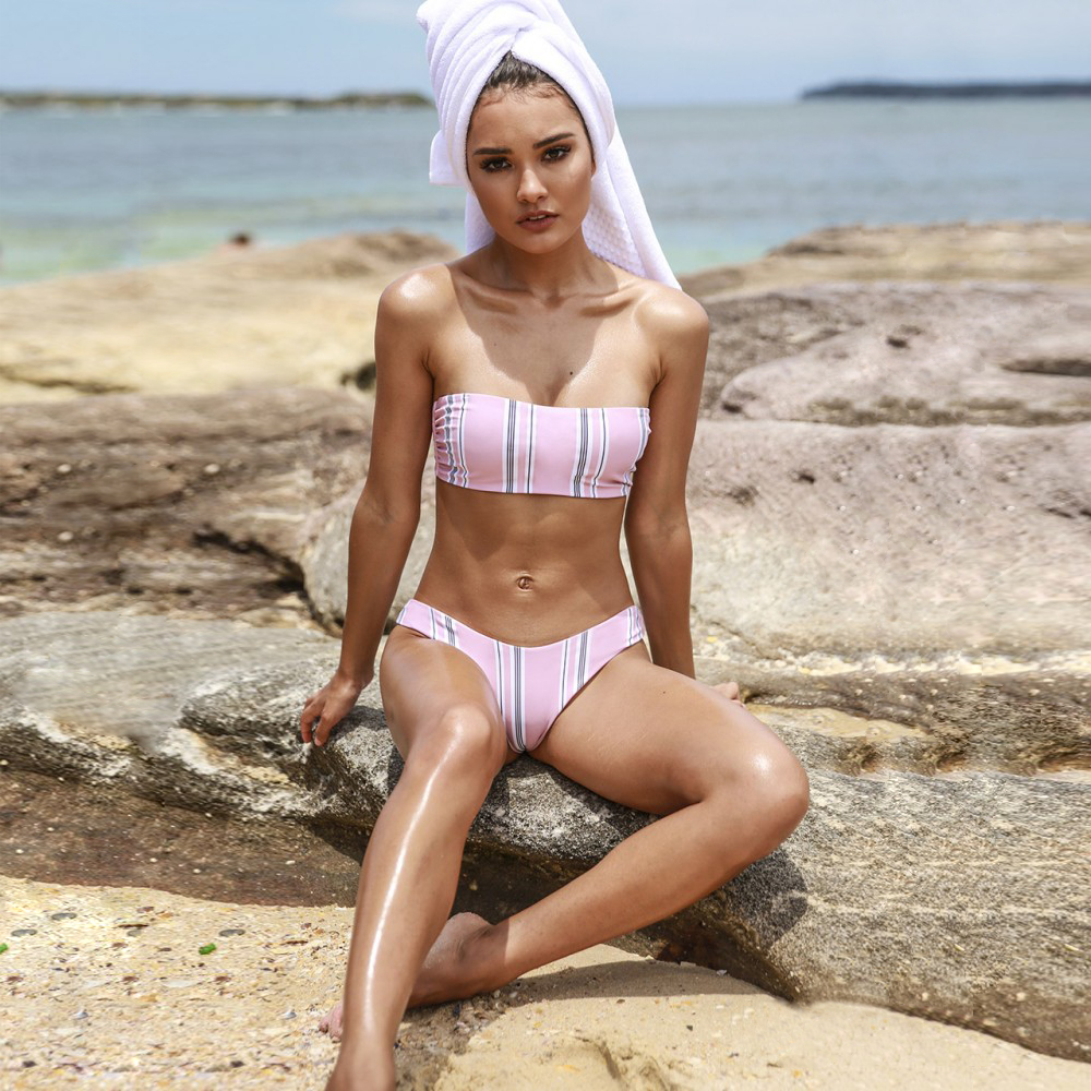 Sexy Striped Thong Bikini 2019 New Wrapped Thong Thong 2 Piece Women 39 s Swimsuit Summer Beach Swimwear Brazilian Bikini Push Up in Bikinis Set from Sports amp Entertainment