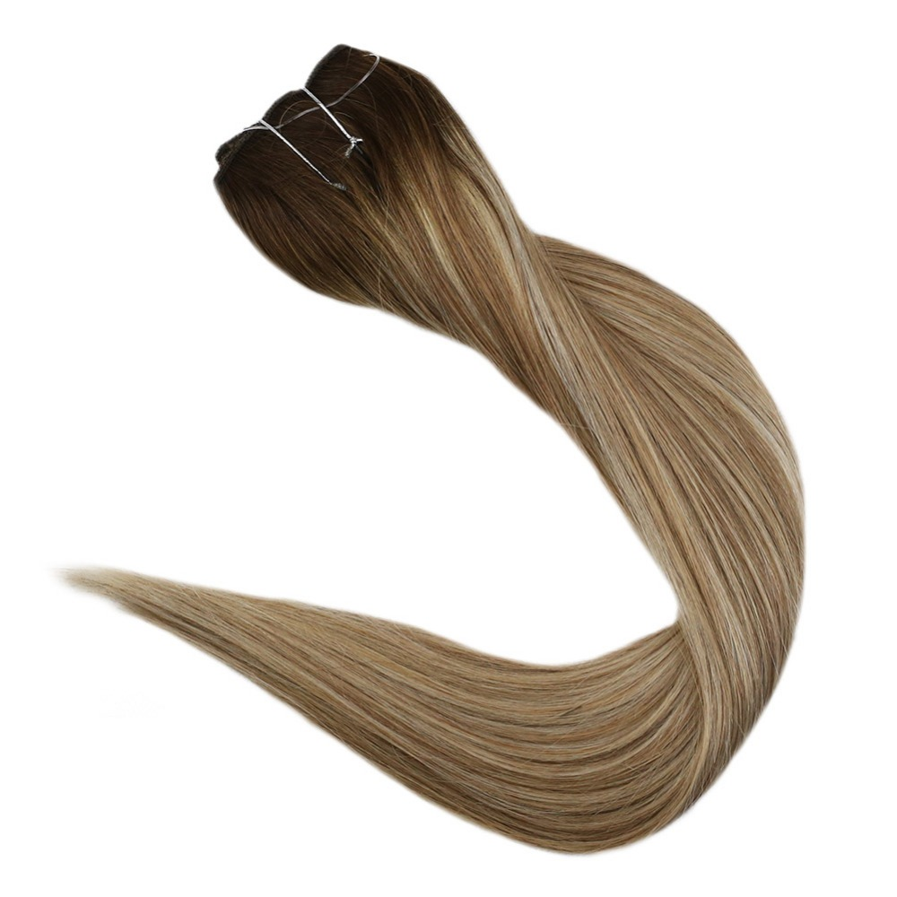 Full Shine Human Hair Bundles Balayage Color #3 Fading To #8 And #22 100%  Sew In Ribbon Machine Made Remy Weft Extensions