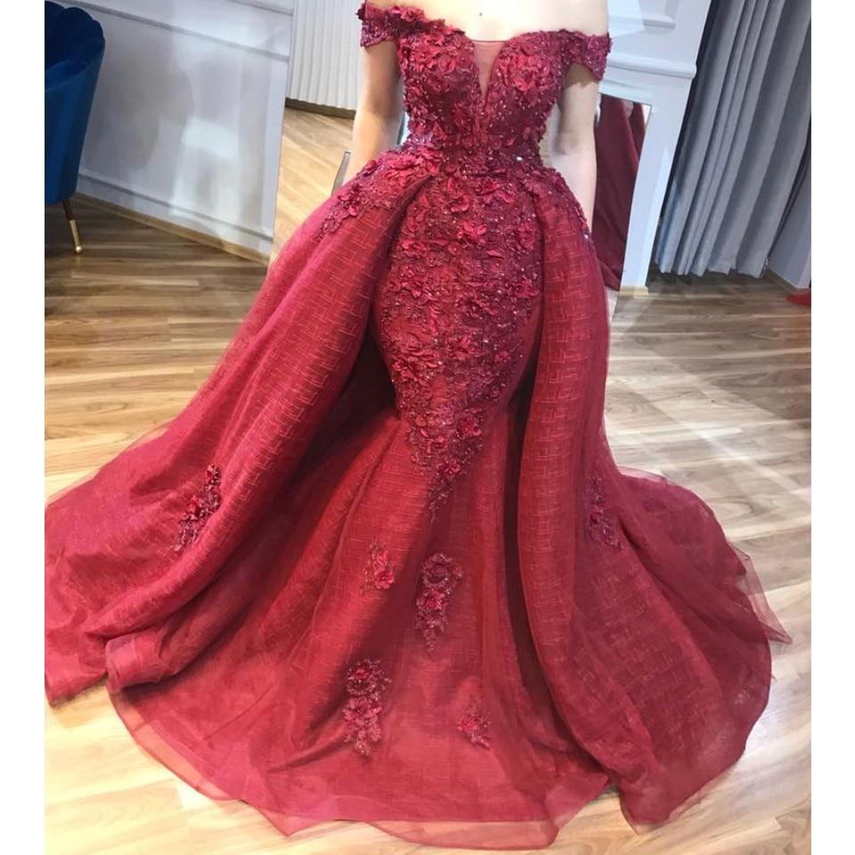 Abiye Dubai Red Lace Beaded Mermaid Evening Dresses 2018 With Detachable Train 3D Flower Prom Gowns Off Shoulder Abendkleider