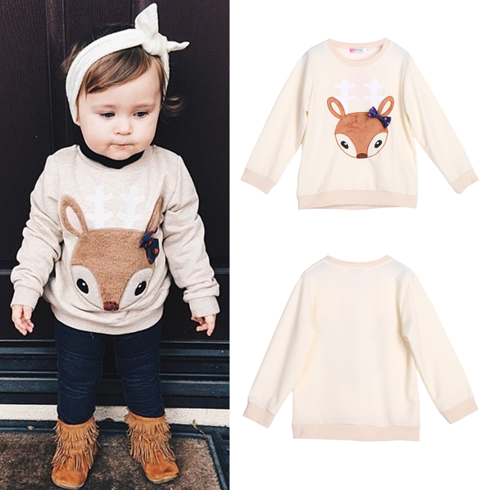 Baby Girls Boy Pullover 2017 New Spring Toddler Kids Fox Printed Bowknot Fashion Tops Clothes Outfit For 2-6Y Cartoon Sweatshirt