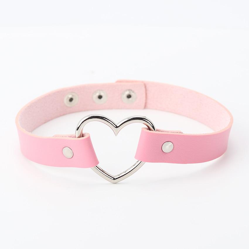 Горячее предложение, колье из искусственной кожи в стиле панк с сердечками и заклепками, ожерелье-ошейник с пряжкой, подарок для женщин, ювелирные изделия - Окраска металла: pink