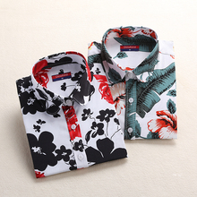 Women's Long Sleeve Blouse Shirts Lipstick Floral Blouse