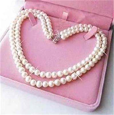 """Exquisito 2 filas 6-7mm blanco agua dulce cultura akoya collar de perlas 16,5-17,5"""""""