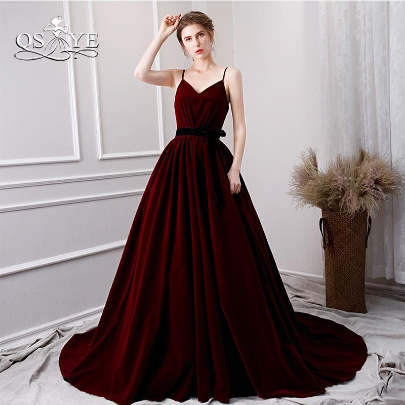 Qsyye 2019 Hot Burgundy Velvet Long Prom Dresses Sexy -4429