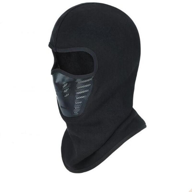 Black Winter Fleece Balaclava Full Face Mask Thermal Warmer Cycling Hood Liner Sports Ski Bike Riding Snowboard Shield Hat Cap