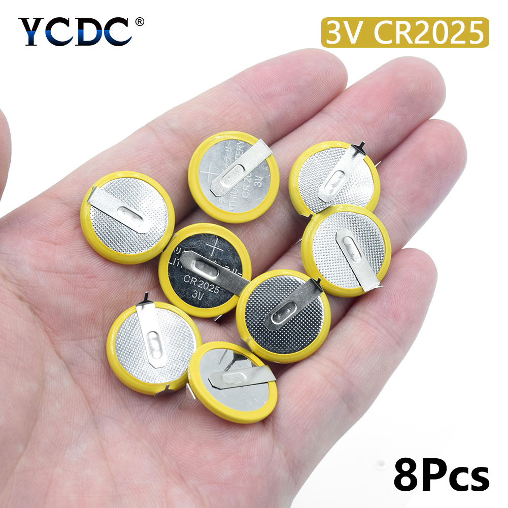 8X <font><b>CR2025</b></font> <font><b>BATTERY</b></font> <font><b>WITH</b></font> 2 PINS 3V HIGH ENERGY COIN CELL FOR SMALL ELECTRONICS mounting pins/<font><b>tabs</b></font> single use image