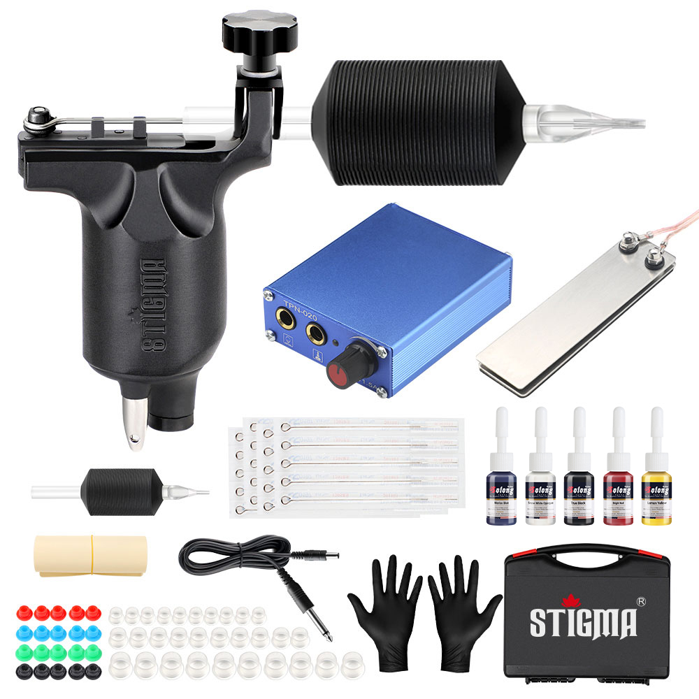 Stigma 2018 New Complete Professional Tattoo Machine Kit Sets 1 Rotary Machines for Body Art 5 Color Inks MK648 Power Supply-in Tattoo Kits from Beauty & Health    1