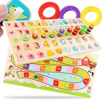RCtown Children Wooden Materials Learning Count Numbers Match Early Education Teaching Math Toys