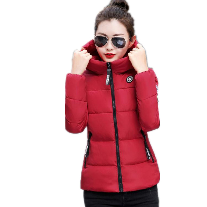 Plus Size 5XL 2019Fashion Print Letter Autumn Winter Women   Parkas   Female Down Cotton Jacket Padded Hooded Winter Women CoatsQ605