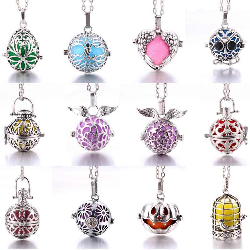 Aromatherapy jewelry Vintage silver bird cage Tree of life necklace Aroma Diffuser Perfume Aromatherapy Locket Pendant Necklace